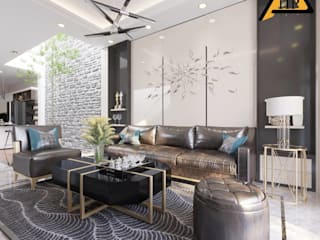 CTY KIẾN TRÚC VÀ NỘI THẤT HP-HOUSE 现代客厅設計點子、靈感 & 圖片