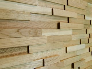 Wallure Striped - Oak - Narrow - Sleek - Varnished Wooden Wall Panel:   by Wallure