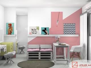 ESCRITÓRIO DA BLOGUEIRA: Escritórios  por Atelier A4 - Design de Interiores,Moderno