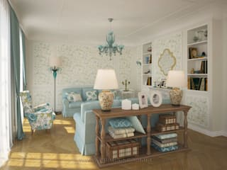 French country interior design: country Living room by Tamriko Interior Design Studio