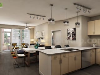 Stylish Residential Kitchen Design by Yantram interior concept drawings Toronto:   by Architectural Design Studio