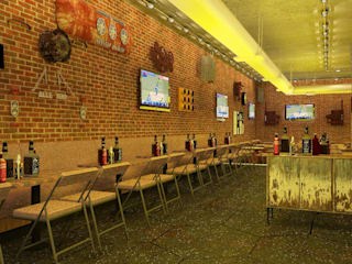 Sports Bar interiors :   by Antar - A Firm of Interior Designers
