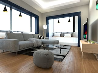 Moderne Wohnzimmer von 디자인 이업 Modern Massivholz Mehrfarbig