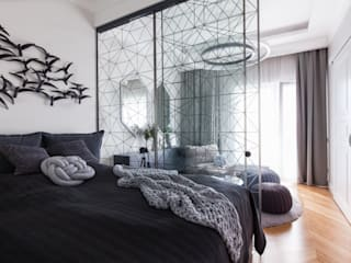 Yucubedesign Eclectic style bedroom Grey