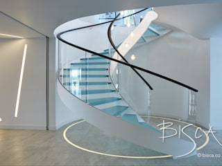 Multi-flight, Multi-Texture, Helical Stairs Design Bisca Staircases Scale MDF