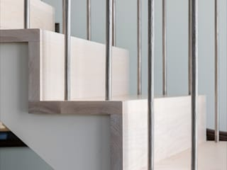 Replacement curved stair design for a barn conversion Bisca Staircases Scale Legno