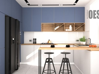 OES architekci Built-in kitchens Wood Blue