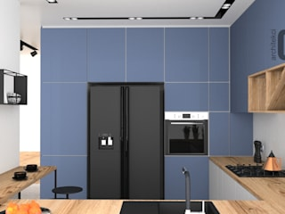OES architekci Built-in kitchens Copper/Bronze/Brass Blue