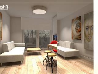 Długie i wąskie - 45m Nowoczesny salon od freshR - pracownia projektowa Nowoczesny