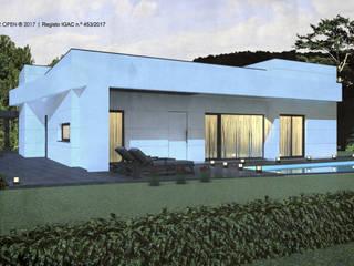 Moradia V3 | Lt. 1 – S. Domingos Rana | a.b. 180,00 m2 (construção LSF/aço leve) : Moradias  por ATELIER OPEN ® - Arquitetura e Engenharia