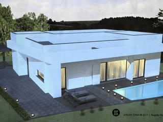 Moradia V3 | Lt. 1 – S. Domingos Rana | a.b. 180,00 m2 (construção LSF/aço leve) : Casas unifamilares  por ATELIER OPEN ® - Arquitetura e Engenharia