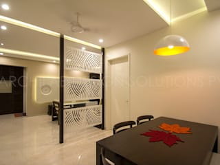 1500 Sft Residence at Rohan Kritika, Sinhagad Road, Pune :  Dining room by Archilab Design Solutions Pvt.Ltd.