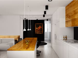 Projekt salonu z aneksem kuchennym: styl , w kategorii Kuchnia zaprojektowany przez Archi group Adam Kuropatwa