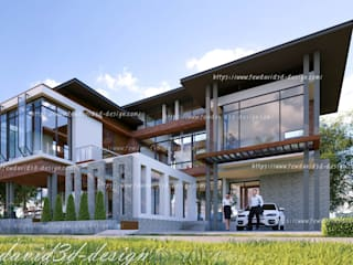 บ้านพักอาศัย 2ชั้น คุณ วีรยุทธฯ อ.แก่งกระจาน จ.เพชรบุรี โดย fewdavid3d-design โมเดิร์น