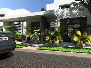 FACHADA PRINCIPAL: Casas unifamiliares de estilo  por OLLIN ARQUITECTURA