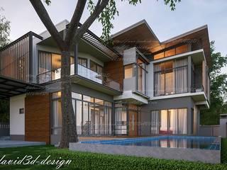 บ้านพักอาศัย2ชั้น อ.เมืองสกลนคร จ.สกลนคร โดย fewdavid3d-design โมเดิร์น