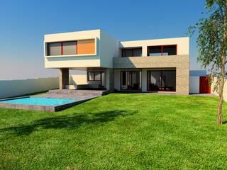 Render Proyecto casa BL piedra roja - Chicureo.: Casas unifamiliares de estilo  por MJO ArqDesign