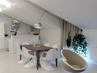 DELFINETTIDESIGN Modern dining room Wood White
