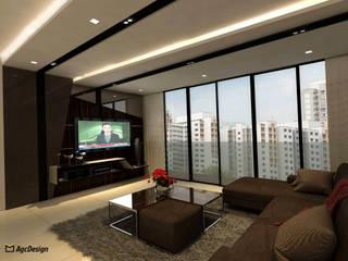 Sea Horizon Condo:  Living room by AgcDesign,Modern