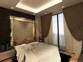 Sea Horizon Condo:  Bedroom by AgcDesign,Modern