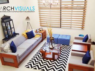 L Residence: modern Living room by Archvisuals Design Studio
