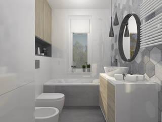 Łazienka z motywem heksagonów: styl , w kategorii Łazienka zaprojektowany przez DIZU Studio - projektowanie wnętrz