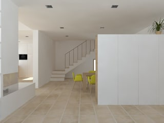 Vivienda L Pasillos, vestíbulos y escaleras de estilo mediterráneo de atelier512 Mediterráneo