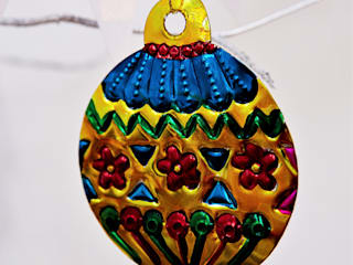 Mexican Tin Bauble Christmas Decoration in Gold:   by Deja Ooh