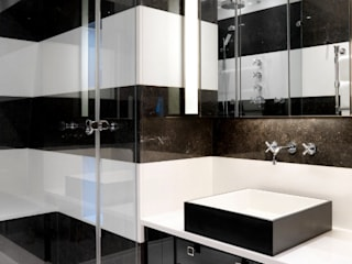 Frameless glass shower to block tiles Ion Glass Modern style bathrooms Glass