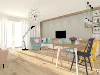 Salon: styl , w kategorii Salon zaprojektowany przez MJ-Atelier