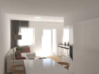 Reforma de una vivienda en planta baja: Salones de estilo  de Okoli