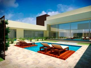 Área de lazer residencial Fávero Arquitetura + Interiores Piscinas de jardim