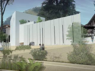 Fachada Occidental: Jardines de invierno de estilo moderno por Bustos + Quintero arquitectos