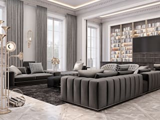 Spacious apartment on the banks of the Seine: Гостиная в . Автор – Diff.Studio, Эклектичный