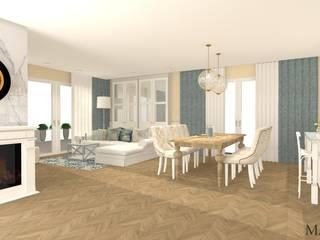 Dom w stylu nowojorskim: styl , w kategorii Salon zaprojektowany przez MJ-Atelier