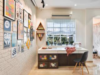 SAGA Design Modern style bedroom Bricks White
