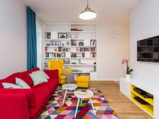Kolorowe mieszkanie  na Mokotowie: styl , w kategorii Salon zaprojektowany przez Modify- Architektura Wnętrz