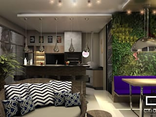 projeto de design de interiores casa terrea moderna integrada: Salas de estar  por Caio Pelisson - Arquitetura e Design