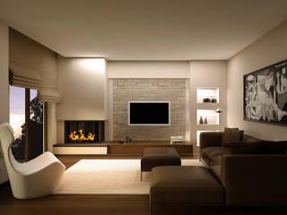 HEBART MİMARLIK DEKORASYON HZMT.LTD.ŞTİ. – İdealistkent villa: modern tarz Oturma Odası