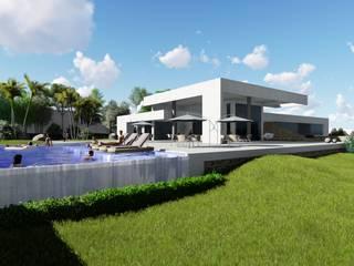 Casa de Campo RG: Piscinas de jardim  por Eleve Arquitetura,Moderno