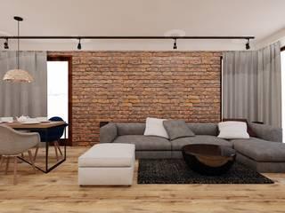 70 m² w Imielinie Industrialny salon od Piec Piąty Industrialny