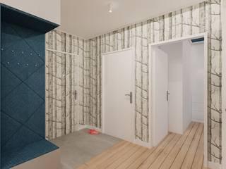 40 m² w Warszawie Nowoczesny korytarz, przedpokój i schody od Piec Piąty Nowoczesny