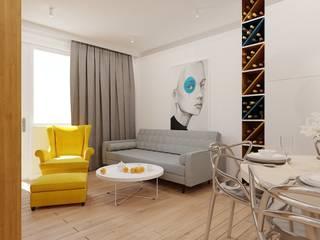 40 m² w Warszawie Nowoczesny salon od Piec Piąty Nowoczesny
