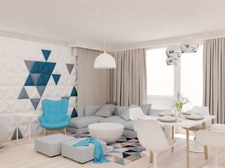 60 m² w Będzinie Nowoczesny salon od Piec Piąty Nowoczesny