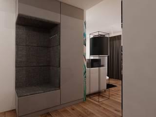 55 m² w Poznaniu Nowoczesny korytarz, przedpokój i schody od Piec Piąty Nowoczesny