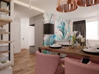 55 m² w Poznaniu Nowoczesny salon od Piec Piąty Nowoczesny
