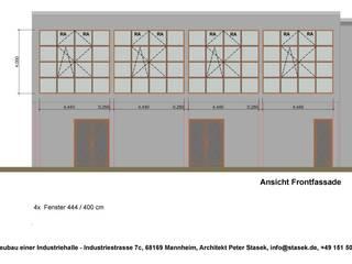 Industriehalle im Bauhausstil auf der Friesenheimer Insel in Mannheim Industriale Geschäftsräume & Stores von Peter Stasek Architects - Corporate Architecture Industrial