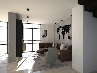 Diseño interior Apartamento con estilo industrial: Salas multimedia de estilo industrial por ecoexteriores