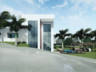Projeto de Residência com 3 quartos. Condomínio AMOBB, Jardim Botânico, Lago Sul-DF.: Condomínios  por Rudini Rodarte Arquitetura e Construção