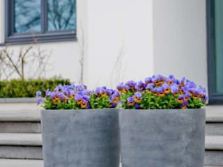 Fiberstone Pflanzgefäße arts&more - Raumbegrünung Moderner Balkon, Veranda & Terrasse Grau